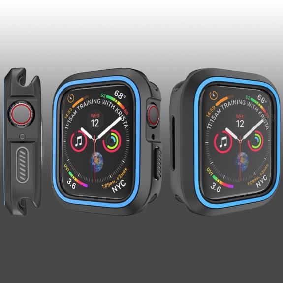 AppleKing silikonové pouzdro pro Watch 40mm - černá - modrá - možnost vrátit zboží ZDARMA do 30ti dní