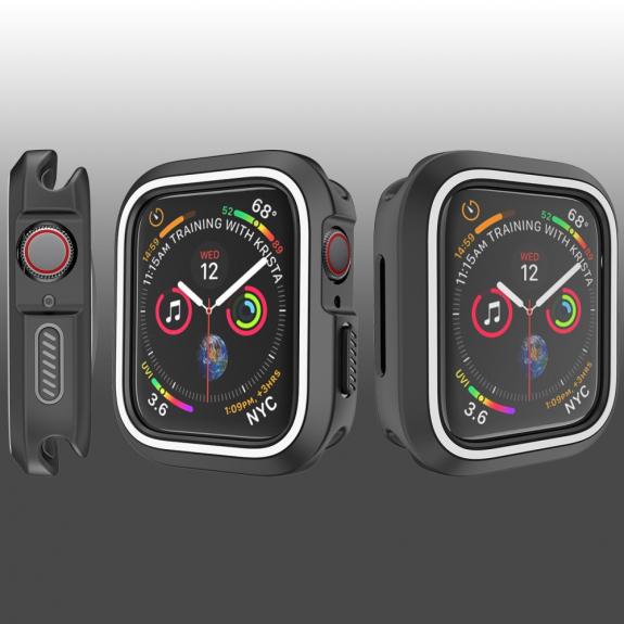 AppleKing silikonové pouzdro pro Watch 44mm - černá - bílá - možnost vrátit zboží ZDARMA do 30ti dní