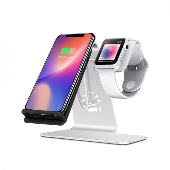 Bestand stojánek pro bezdrátové nabíjení iPhone / Watch - stříbrný - možnost vrátit zboží ZDARMA do 30ti dní