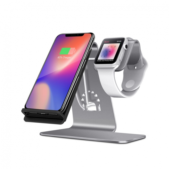 Bestand stojánek pro bezdrátové nabíjení iPhone / Apple Watch - šedý - možnost vrátit zboží ZDARMA d