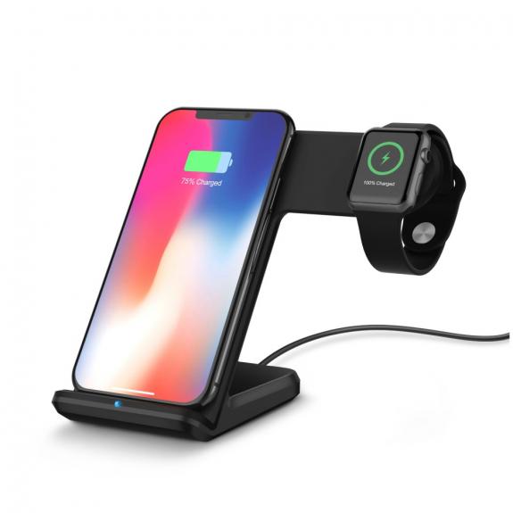 AppleKing stojánek s rychlým bezdrátovým nabíjením pro iPhone / Apple Watch - černá - možnost vrátit zboží ZDARMA do 30ti dní