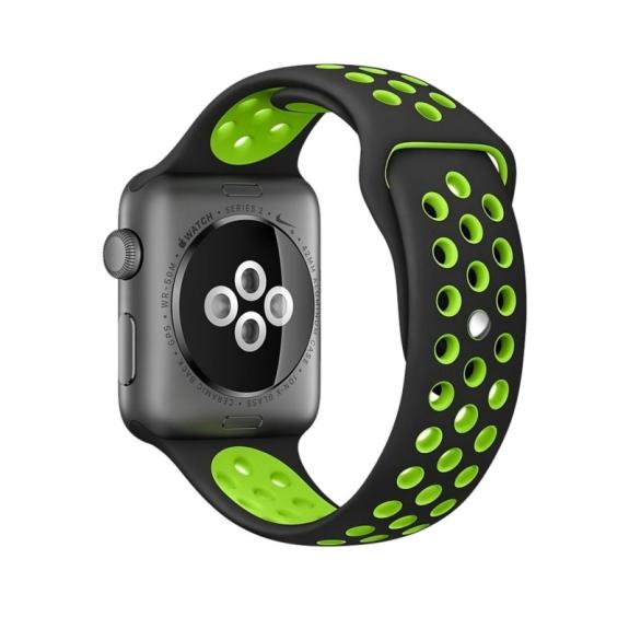 AppleKing silikonový / gumový řemínek pro Apple Watch 38mm Series 1 / 2 - černý / zelený - možnost vrátit zboží ZDARMA do 30ti dní