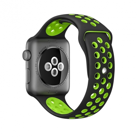 AppleKing silikonový / gumový řemínek pro Apple Watch 42mm Series 1 / 2 - černý / zelený - možnost vrátit zboží ZDARMA do 30ti dní