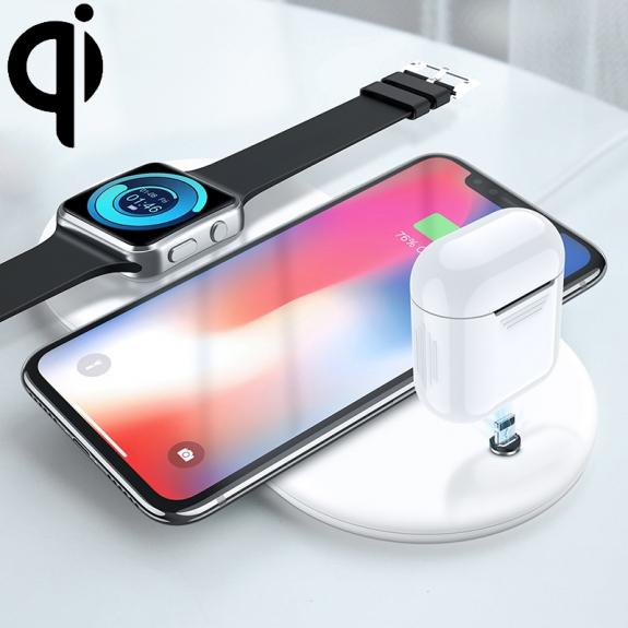 AppleKing bezdrátová Qi nabíjecí podložka pro iPhone / Watch / AirPods - bílá - možnost vrátit zboží ZDARMA do 30ti dní