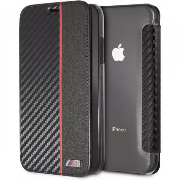 BMW Carbon Red Stripe Book pouzdro pro iPhone XR - černá 3700740435199 - možnost vrátit zboží ZDARMA do 30ti dní