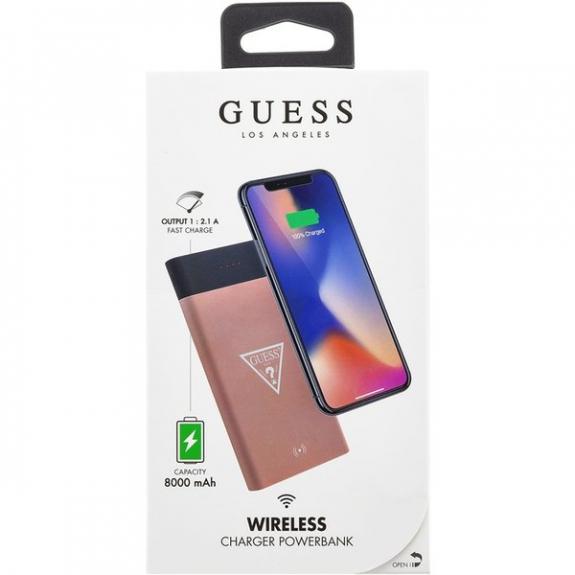 Guess powerbanka s bezdrátovým nabíjením 8000mAh - růžová 3700740439203 - možnost vrátit zboží ZDARMA do 30ti dní