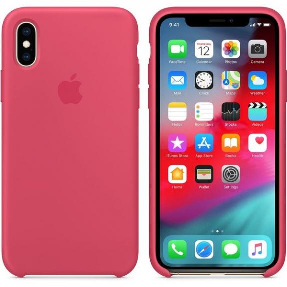 Originální Apple silikonový kryt pro iPhone XS - ibišková MUJT2ZM/A - možnost vrátit zboží ZDARMA do 30ti dní