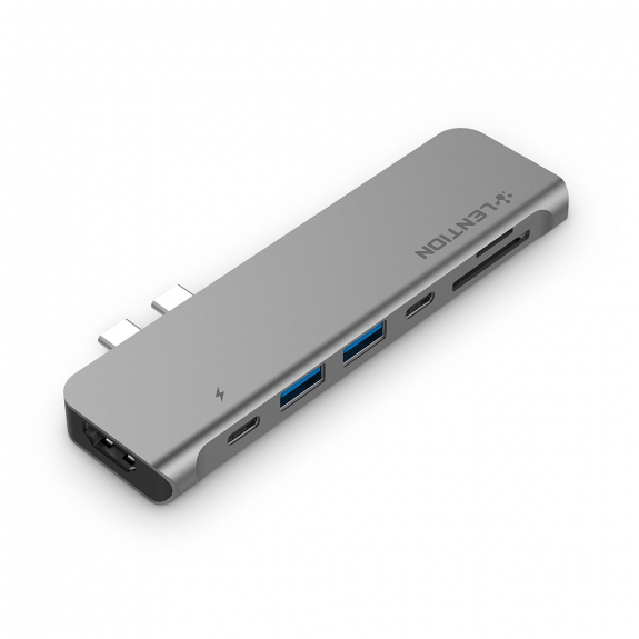 LENTION hub 7v1 - 2xUSB + čtečka SD / TF karet + USB-C + HDMI + Thunderbolt - šedá - možnost vrátit zboží ZDARMA do 30ti dní