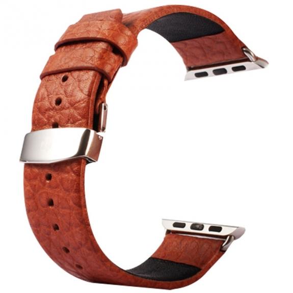 Kakapi kožený řemínek + kovové úchyty a kvalitní spona na zapínání pro Apple Watch 42mm - hnědý - možnost vrátit zboží ZDARMA do 30ti dní