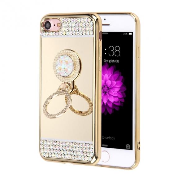 AppleKing luxusní zrcadlový kryt / obal s kamínky ve stylu diamantu a kruhovým držákem pro Apple iPhone 7 - zlatý - možnost vrátit zboží ZDARMA do 30ti dní