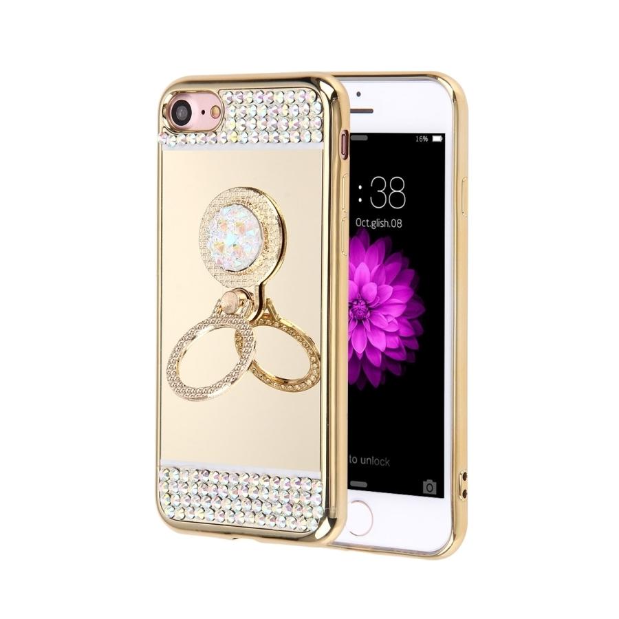 6a1bb1eda Luxusní zrcadlový kryt / obal s kamínky ve stylu diamantu a kruhovým  držákem pro Apple iPhone ...