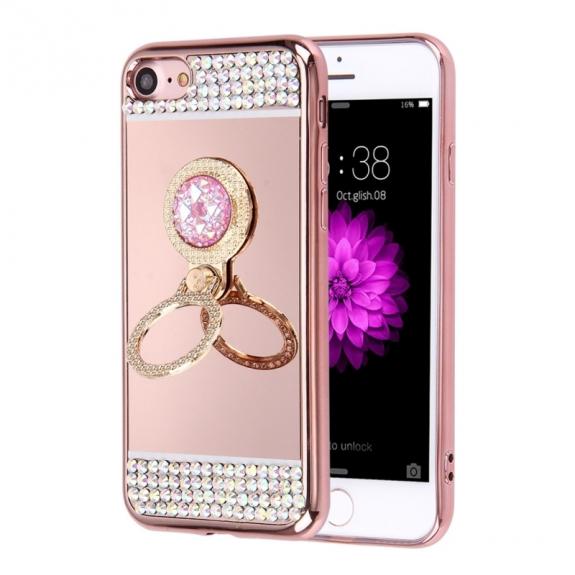 AppleKing luxusní zrcadlový kryt / obal s kamínky ve stylu diamantu a kruhovým držákem pro Apple iPhone 7 - růžově zlatý - možnost vrátit zboží ZDARMA do 30ti dní
