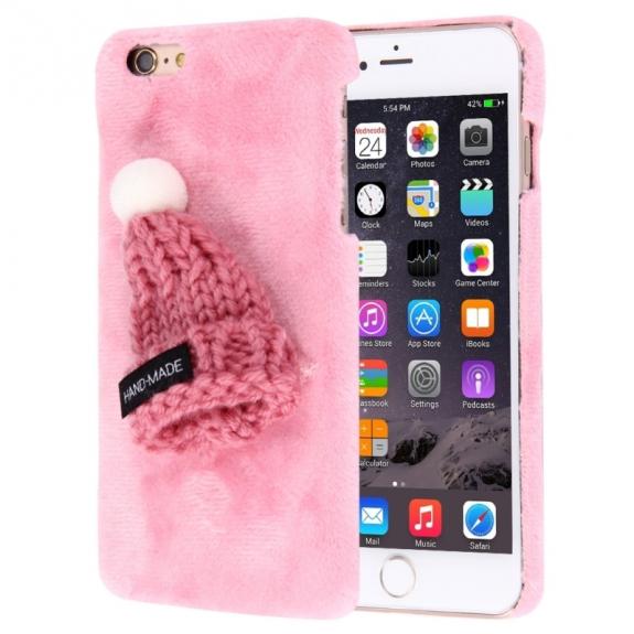 AppleKing plyšový ochranný kryt / obal s čepicí pro Apple iPhone 6S / 6 - růžový - možnost vrátit zboží ZDARMA do 30ti dní