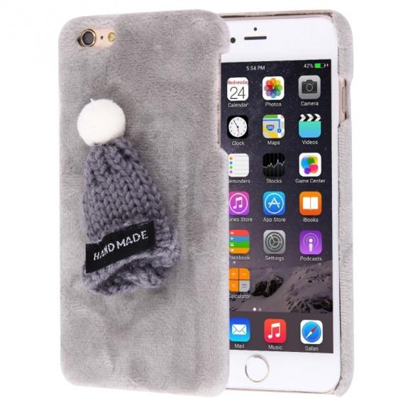 AppleKing plyšový ochranný kryt / obal s čepicí pro Apple iPhone 6S / 6 - šedý - možnost vrátit zboží ZDARMA do 30ti dní