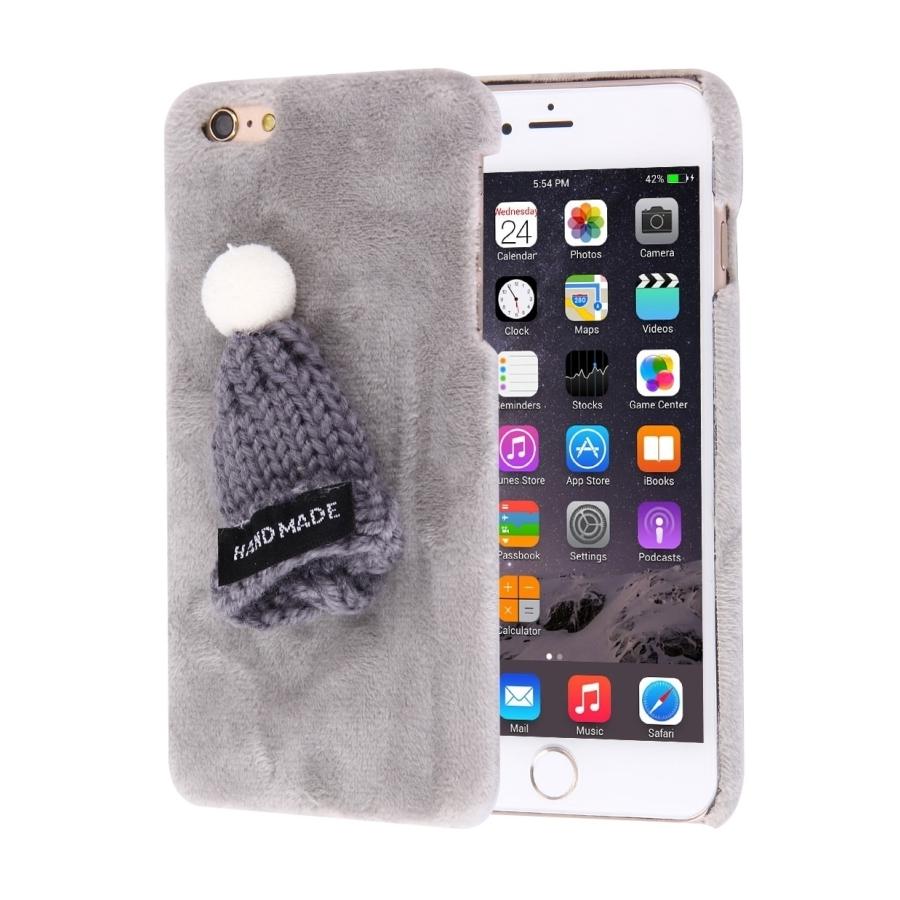 Plyšový ochranný kryt   obal s čepicí pro Apple iPhone 6S   6 - šedý ... 5112bab54e8