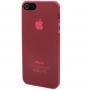 Ultra tenký (0.3mm) poloprůhledný matný kryt pro iPhone 5 / 5S / SE - červený