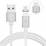 Magnetický nabíjecí lightning kabel s LED diodou pro iPhone / iPad / iPod - 1m - bílý