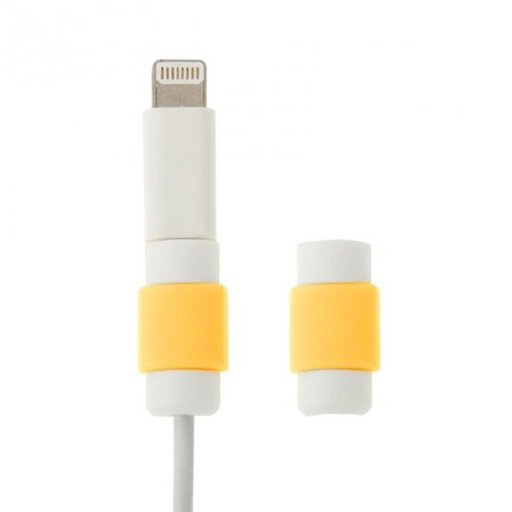 AppleKing plastová ochrana / rozlišovač nabíjecích kabelů - bílo-žlutá - možnost vrátit zboží ZDARMA do 30ti dní