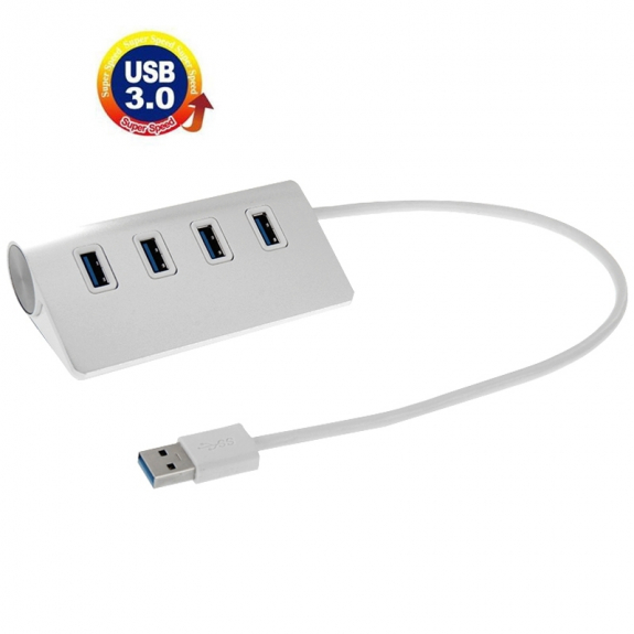 Čtyřportový USB 3.0 rozbočovač / hub - hliníkový - stříbrný