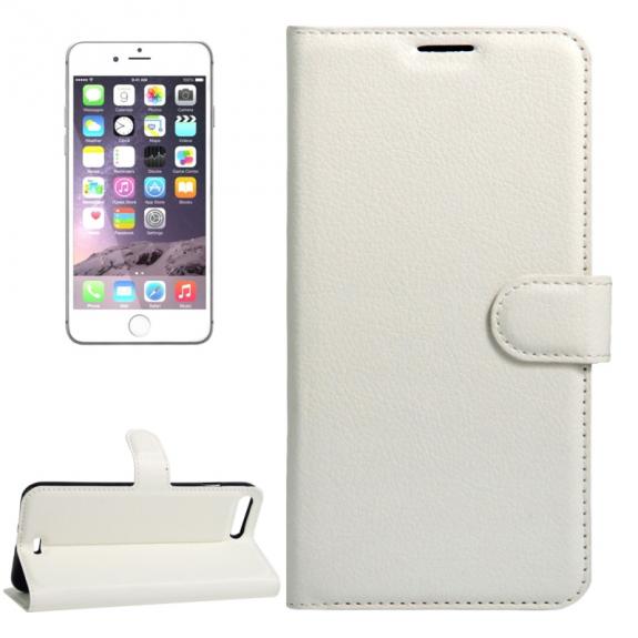 AppleKing kožené pouzdro s integrovaným stojánkem a prostorem na doklady pro Apple iPhone 7 Plus - bílé - možnost vrátit zboží ZDARMA do 30ti dní