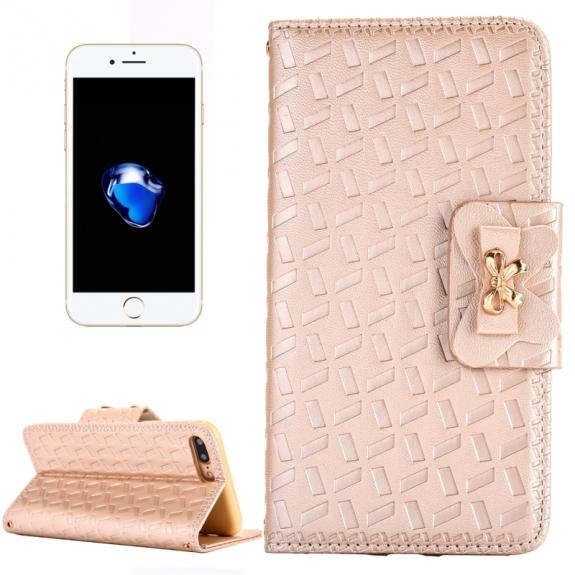 AppleKing kožené pouzdro se vzorem s integrovaným stojánkem a prostorem na doklady pro Apple iPhone 7 Plus - zlaté - možnost vrátit zboží ZDARMA do 30ti dní