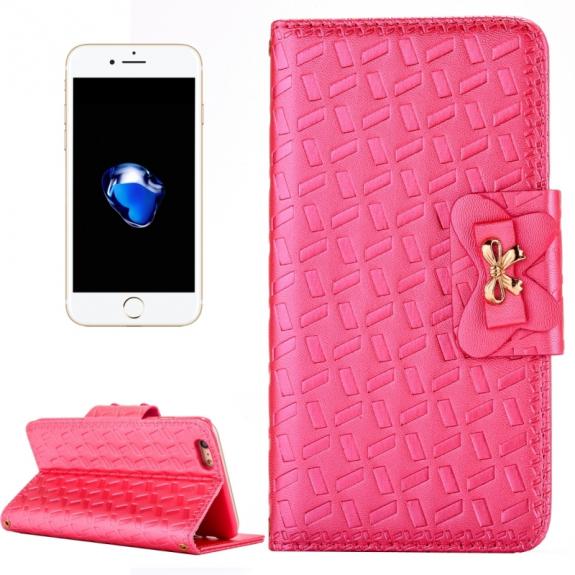 AppleKing kožené pouzdro se vzorem s integrovaným stojánkem a prostorem na doklady pro Apple iPhone 7 Plus - růžové - možnost vrátit zboží ZDARMA do 30ti dní