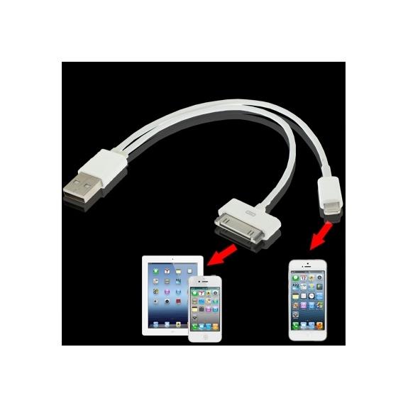 AppleKing 2v1 nabíjecí a synchronizační kabel (lightning a 30pin) pro iPhone / iPad - možnost vrátit zboží ZDARMA do 30ti dní