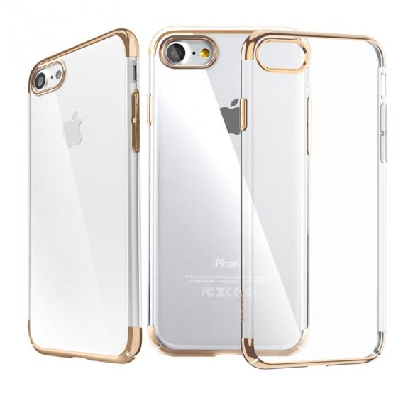 Baseus luxusní lesklý průhledný kryt pro Apple iPhone 7 – zlatý - možnost vrátit zboží ZDARMA do 30ti dní