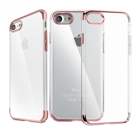 Baseus luxusní lesklý průhledný kryt pro Apple iPhone 7 - růžově zlatý - možnost vrátit zboží ZDARMA do 30ti dní