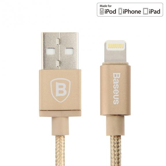 Baseus certifikovaný MFi lightning kabel pro Apple iPhone / iPad / iPod (2.1A) - 1m - zlatý