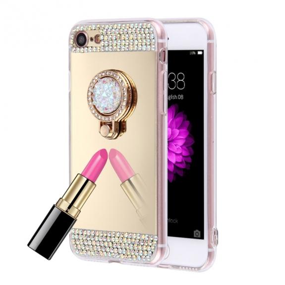 AppleKing luxusní zrcadlový kryt / obal s kamínky ve stylu diamantu a skrytým kruhovým držákem pro Apple iPhone 7 - zlatý - možnost vrátit zboží ZDARMA do 30ti dní