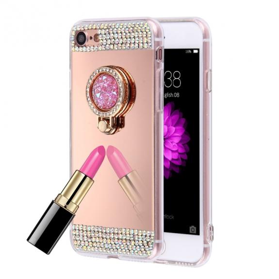 AppleKing luxusní zrcadlový kryt / obal s kamínky ve stylu diamantu a skrytým kruhovým držákem pro Apple iPhone 8 / 7 - růžově zlatý - možnost vrátit zboží ZDARMA do 30ti dní