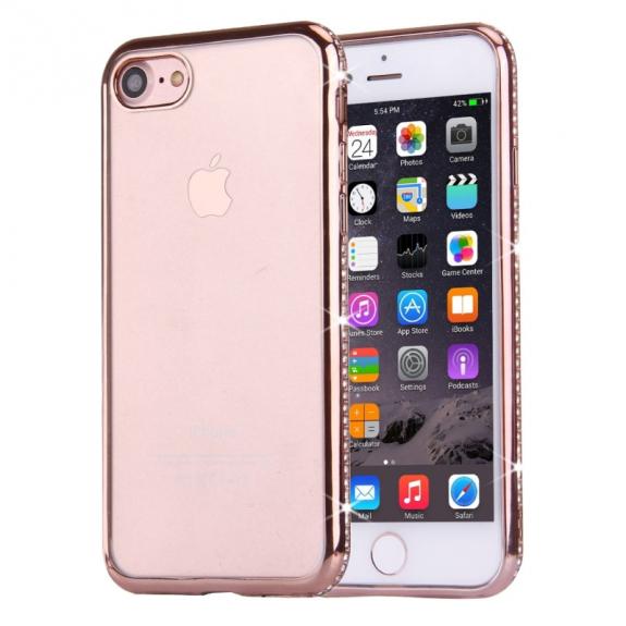 AppleKing ochranný průhledný kryt s kamínky ve stylu diamantu pro Apple iPhone 8 / 7 - růžově zlatý - možnost vrátit zboží ZDARMA do 30ti dní