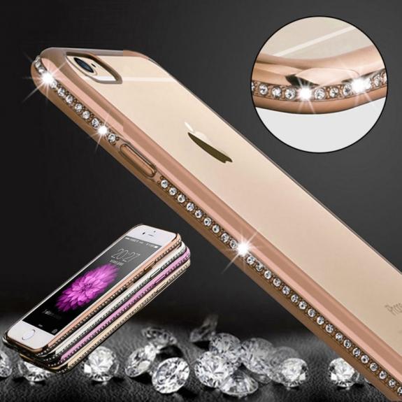 AppleKing luxusní průhledný ochranný kryt s kamínky ve stylu diamantu pro Apple iPhone 6 Plus / 6S Plus - zlatý - možnost vrátit zboží ZDARMA do 30ti dní