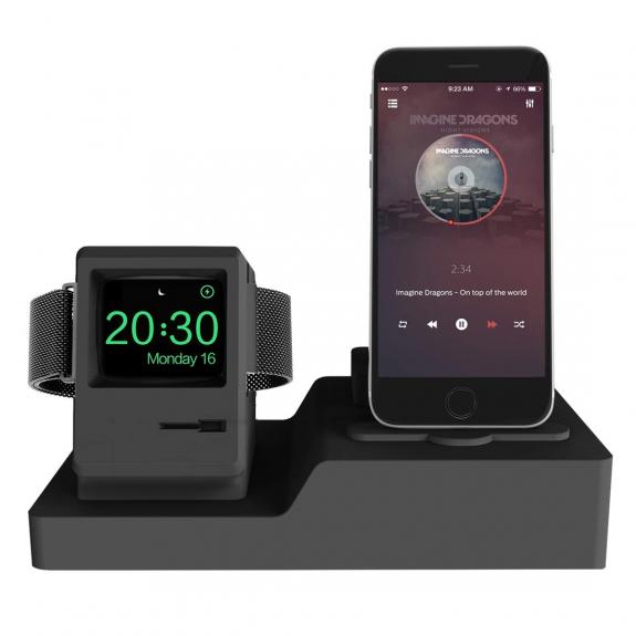 AppleKing dokovací stanice 3v1 pro Airpods / iPhone / Apple Watch - černá - možnost vrátit zboží ZDARMA do 30ti dní