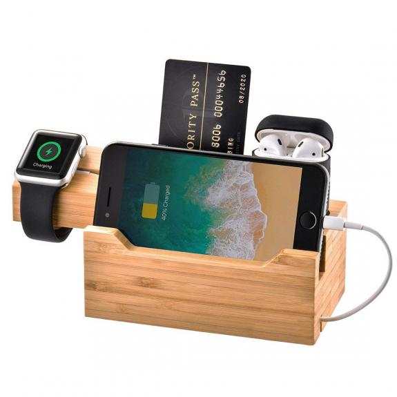 AppleKing multifunkční nabíjecí a dokovací stanice pro Airpods / iPhone / Applewatch - bambus - možnost vrátit zboží ZDARMA do 30ti dní