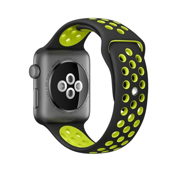 AppleKing silikonový / gumový řemínek pro Apple Watch 42mm Series 1 / 2 - černý / žlutý - možnost vrátit zboží ZDARMA do 30ti dní