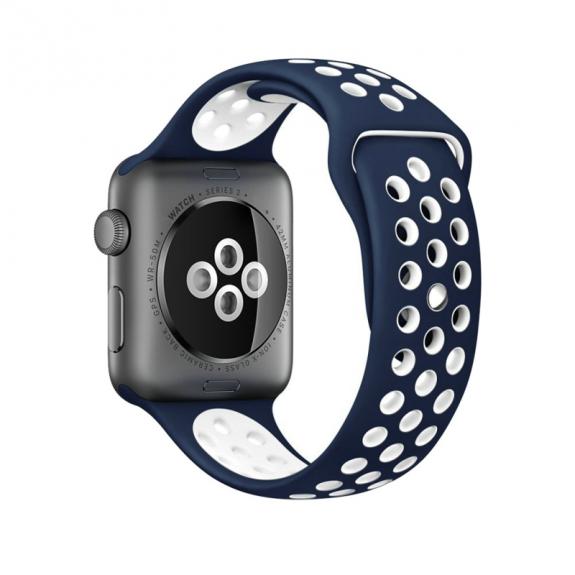 AppleKing silikonový / gumový řemínek pro Apple Watch 42mm Series 1 / 2 – tmavě modrý / bílý - možnost vrátit zboží ZDARMA do 30ti dní