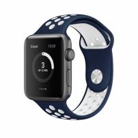Silikonový řemínek pro Apple Watch 42mm / 44mm - modro-bílý