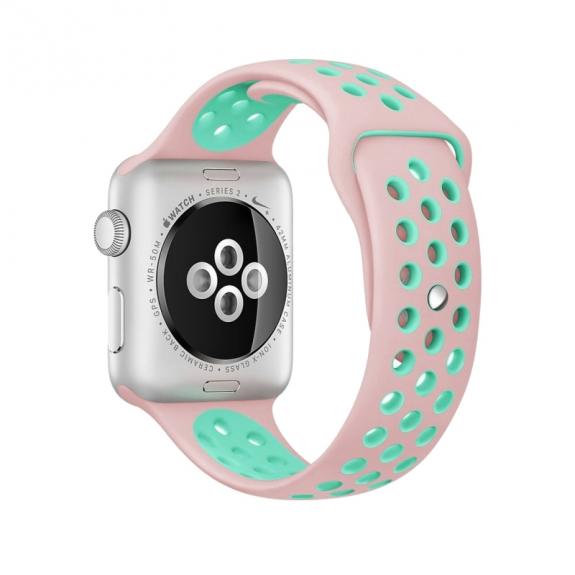 AppleKing silikonový / gumový řemínek pro Apple Watch 42mm Series 1 / 2 – růžový / zelený - možnost vrátit zboží ZDARMA do 30ti dní