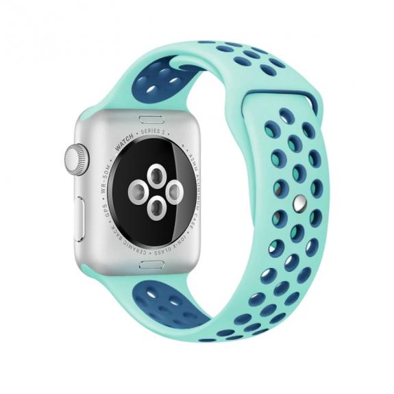 AppleKing silikonový / gumový řemínek pro Apple Watch 42mm Series 1 / 2 – zelený / modrý - možnost vrátit zboží ZDARMA do 30ti dní