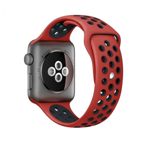 AppleKing silikonový / gumový řemínek pro Apple Watch 42mm Series 1 / 2 - červený / černý - možnost vrátit zboží ZDARMA do 30ti dní