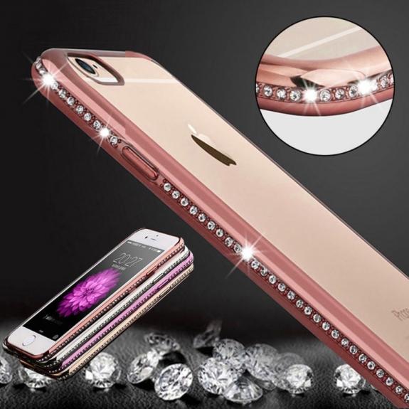 AppleKing luxusní kryt s třpytivými kamínky po obvodu pro Apple iPhone 6 / 6S - růžově zlatý - možnost vrátit zboží ZDARMA do 30ti dní