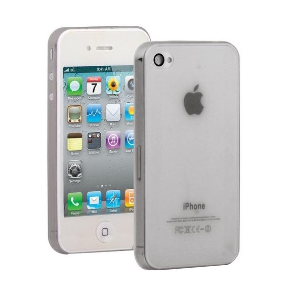 Ultra tenký (0.3mm) poloprůhledný matný kryt pro iPhone 4 / 4S - šedý
