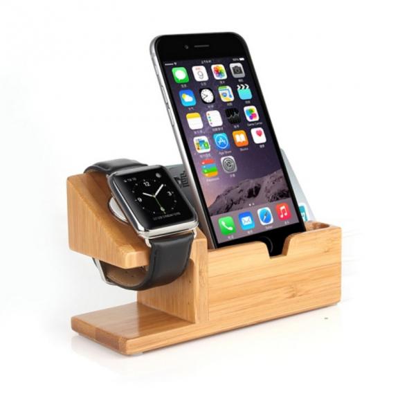 AppleKing dřevěná dokovací a nabíjecí stanice / stojánek pro Apple Watch 38mm / 42mm a iPhone 7 / 7 Plus / 6S / 6S Plus / 6 / 6 Plus a iPhone 5 / 5S / 5C - možnost vrátit zboží ZDARMA do 30ti dní