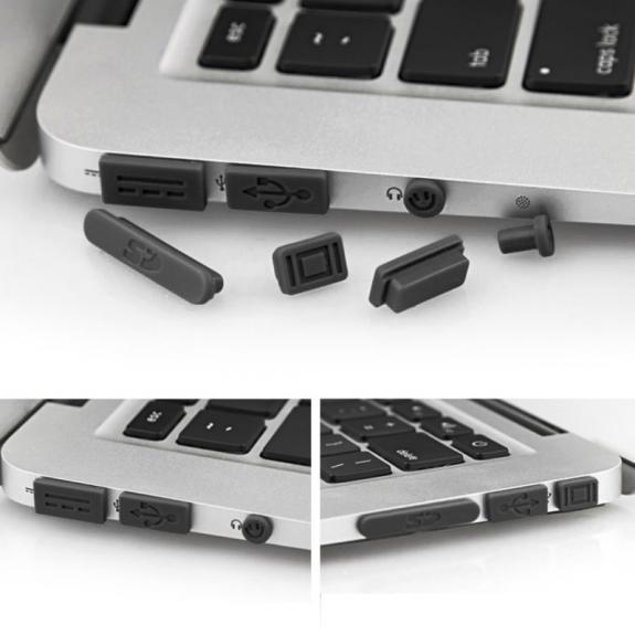 """AppleKing 12v1 silikonové protiprachové záslepky portů pro MacBook Pro Retina 13"""" / 15"""" a Air 11"""" / 13"""" - černé - možnost vrátit zboží ZDARMA do 30ti dní"""