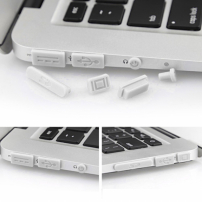 """12v1 silikonové protiprachové záslepky portů pro MacBook Pro Retina 13"""" / 15"""" a Air 11"""" / 13"""" - bílé"""