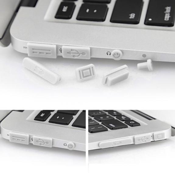 """AppleKing 12v1 silikonové protiprachové záslepky portů pro MacBook Pro Retina 13"""" / 15"""" a Air 11"""" / 13"""" - bílé - možnost vrátit zboží ZDARMA do 30ti dní"""