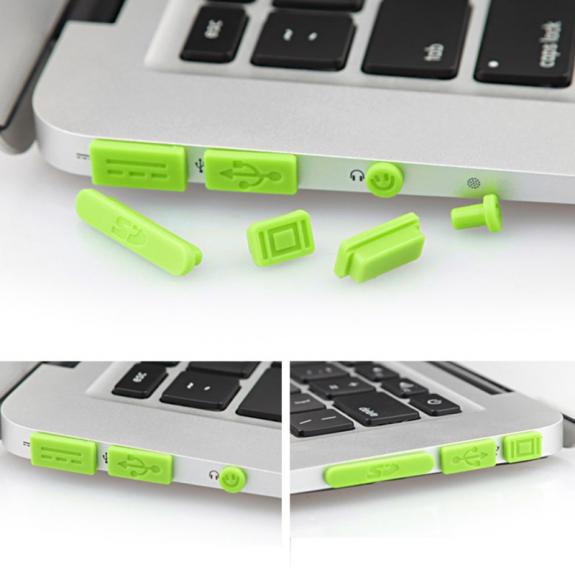 """AppleKing 12v1 silikonové protiprachové záslepky portů pro MacBook Pro Retina 13"""" / 15"""" a Air 11"""" / 13"""" - zelené - možnost vrátit zboží ZDARMA do 30ti dní"""