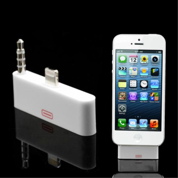 AppleKing redukce 30pin na Lightning + 3.5mm pro Apple iPhone 5 / 5S / SE - bílá - možnost vrátit zboží ZDARMA do 30ti dní